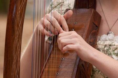 14835899 - young woman playing a harp